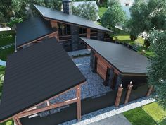 Nice 88 Fantastic Roof Design Ideas For Your Home. Modern House Plans, Modern House Design, House Roof Design, Modern Garage, Casas Containers, Exterior Design, Future House, Architecture Design, Computer Architecture