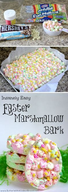 Funny pictures about Easter Marshmallow Bark. Oh, and cool pics about Easter Marshmallow Bark. Also, Easter Marshmallow Bark. Easter Dinner, Easter Party, Easter Table, Holiday Treats, Holiday Recipes, Family Recipes, Easter Recipes, Dessert Recipes, Desserts Diy