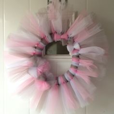 Valentines wreath made from tulle