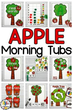 Morning work should never be boring! These Apple Morning Tubs are fun, hands-on activities used to learn and review literacy and math concepts. These September morning tubs are also an entertaining and engaging way for Kindergartners or 1st graders to start the day. This set of interactive centers includes 5 literacy and 5 math morning tubs that are perfect for children around the ages of 4-6. Click on the picture to learn more! #morningtubs #morningwork #aapleactivities #applelearningctivities