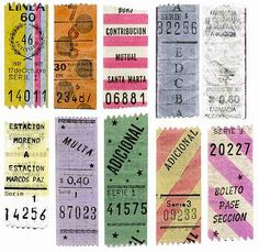 A lovely reminder of the beauty and inspiration that can be found in the utility of every day things. Thanks for the link to this site about argentine transportation ticket design via pinkshirtsandcarwrecks. Lettering, Typography Design, Design Art, Print Design, Bus Tickets, Travel Tickets, Ticket Stubs, Travel Tags, Ticket Design