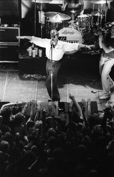 David Bowie performs on stage with Tin Machine at Paradiso Amsterdam Netherlands 24th June 1989 by Rob Verhorst.