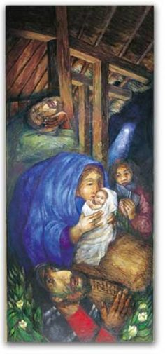 Rosenberg Nativity - Christmas poster by Sieger Koder. Themes: Light in our darkness, Life through death, Transformation of suffering. Poster Size: 44 x 98 cm / Order ref: / Christmas Bible, Christmas Poster, Christmas Nativity, Bible Pictures, Jesus Pictures, Christian Images, Christian Art, Our Lady Of Sorrows, Sign Of The Cross