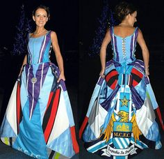 Bride makes her own Manchester City wedding dress