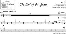 "The full drum sheet music for ""The End of the Game"" by Weezer from the album Van Weezer Drum Sheet Music, Drums Sheet, Drum Key, Music Stand, Weezer, The End Game, Ready To Play, You Are Awesome, Album"