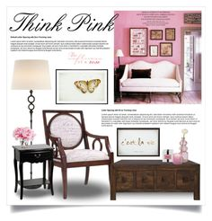 """""""Pretty in pink (interior) 1819"""" by boxthoughts ❤ liked on Polyvore featuring interior, interiors, interior design, home, home decor, interior decorating, Madison Park, Pottery Barn, AERIN and The French Bee"""