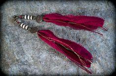 boucles d'oreilles ethnique bohême - soie indienne et howlite