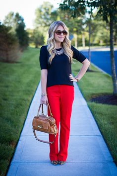 Animal Print & Red pants - Mix & Match Fashion Who says you can't be bold at work? Click through for tons more business casual ideas with personality!
