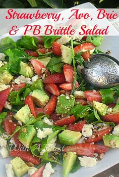 This salad screams Summer ! AND with an unusual, but delicious add of Peanut Brittle #Salad #StrawberrySalad