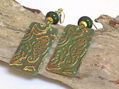 Seahorse Earrings, Green Earrings, Lampwork Earrings, Handmade Earrings, Handcrafted Jewelry, Unique Earrings, Beach Earrings, Artisan Made by BlondePeachJewelry on Etsy
