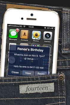 Text Me - White Jeans/Denium - iPhone invitation, boys birthday invitation girls birthday invitation, party invitation, youth invitation, teens birthday invitation