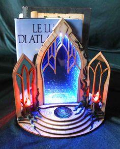 Magic Portal Bookend Infinite Mirror, 9 Volt Battery, Star Magic, Mirror Effect, Wooden Plates, White Lead, Book Nooks, The Elf, Fantasy World