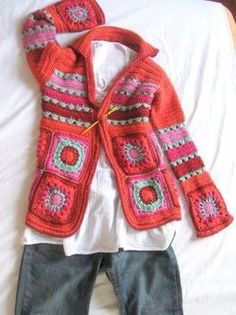 Diagrama – Patrón – Tutorial – Chaqueta Granny Squares – Chaqueta Crochet – Ganchillo – Comando Craft