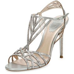 Rene Caovilla Crystal-Embellished Cutout 105mm Sandal ($1,595) ❤ liked on Polyvore featuring shoes, sandals, shoes sandals classic, silver, cutout sandals, embellished sandals, cut out sandals, cut out shoes and crystal embellished sandals