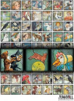 MOTHER GOOSE MINIS  Digital Printable Collage Sheet  by JUNKMILL, $3.50