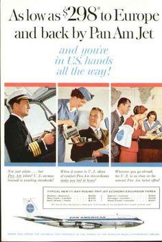 1960, A Pan Am ad featuring a pilot, flight attendant & ticket agent.