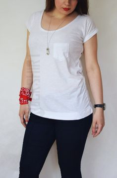 Long tshirt with pocket sleeve tabs and round by Rockshirt on Etsy