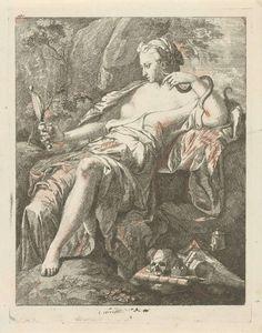 Hendrik van Limborch | Prudentia, Hendrik van Limborch, 1691 - 1759 | In een landschap bekijkt Prudentia (Voorzichtigheid) zichzelf in haar handspiegel. Om haar vrije arm kronkelt een slang. Op de grond voor haar liggen een doodshoofd, boeken, inkt en een schrijfveer.