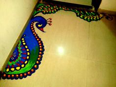 Rangoli designs & patterns don't always have to be intricate & difficult. Here are the top simple & small rangoli designs for Diwali at home for beginners. Rangoli Designs Latest, Simple Rangoli Designs Images, Rangoli Border Designs, Colorful Rangoli Designs, Rangoli Designs Diwali, Beautiful Rangoli Designs, Rangoli Borders, Peacock Rangoli, Flower Rangoli