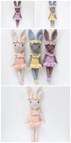 Crochet Dolls, Knit Crochet, Crochet Hats, Beginner Crochet Projects, Sewing Projects, Bunny Toys, Bunnies, Knitted Animals, Crochet Patterns