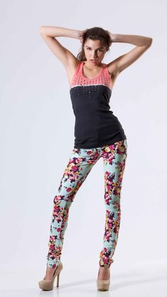 Floral Print Skinny/Mint by Poplooks, Patel Green Color