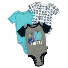 Disney Cuddly Bodysuit™ with Grow-An-Inch-Snaps™ MONSTERS, INC. 3-Pack #MonstersU