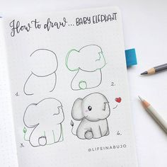 I need this baby elephant as a plushie! 😍🐘 Lifeinabujo you've done it again ✨ save this step by step for future inspo! ♥️ I need this baby elephant as a plushie! 😍🐘 Lifeinabujo you've done it again ✨ save this step by step for future inspo! Cute Easy Drawings, Cool Art Drawings, Doodle Drawings, Drawing Ideas, Bullet Journal Notebook, Bullet Journal Ideas Pages, Bullet Journal Inspiration, Baby Elephant Drawing, Easy Doodle Art