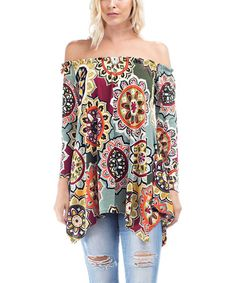 Another great find on #zulily! Olive & Yellow Geometric Floral Off-Shoulder Tunic #zulilyfinds