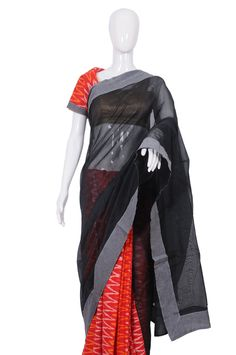 Black and Red Ikat Saree – Desically Ethnic