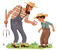 Farmer and son, Martin Wickstrom Commercial Art, Farmer, Illustration, Fictional Characters, Illustrations, Homesteads, Fantasy Characters