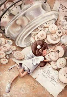 Button fairy illustration by Elina Ellis