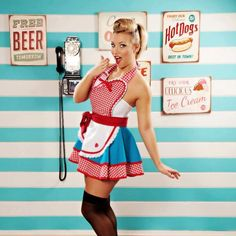 Dots Diner Retro 50s Diner Waitress Apron in Teal  by dottiesdiner, $88.00
