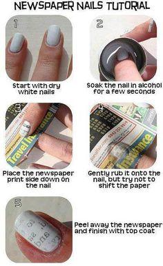 DIY Newspaper Nail Art Tutorial nails diy craft nail art nail trends diy nails diy nail art easy craft diy fashion manicures diy nail tutorial easy craft ideas teen crafts home manicures Do It Yourself Nails, How To Do Nails, Nail Art Diy, Easy Nail Art, Book Nail Art, Cute Nails, Pretty Nails, Glam Nails, Fancy Nails