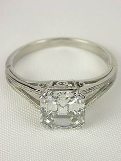Asscher Cut Diamond Antique Engagement Ring
