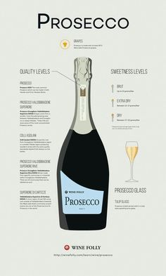 Prosecco Wine: taly's number one sparkling wine comes from Northeastern Italy and uses a different winemaking method than Champagne. The best Prosecco wines are noted from the sub-region of Valdobbiadene Guide Vin, Wine Guide, Wine Folly, Wine Education, Wine Cocktails, Drinks With Prosecco, What Is Prosecco, Champagne Drinks, Italian Wine
