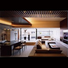 Modern interior with lots of wood for warmth.