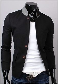 Men's Contrasting Collar Slim-Fit Casual Jacket in black. | The Tres Chic