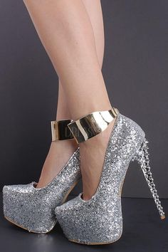 Silver High Heels Closed Toe | Tsaa Heel