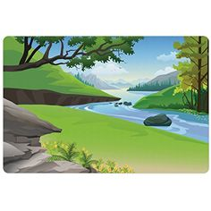 Nature Pet Mats for Food and Water by Ambesonne, Lake View in National Park in the Woodland Forest in Summer Cartoon, Rectangle Non-Slip Rubber Mat for Dogs and Cats, Lime Green Light Blue Grey *** See this great product. (This is an affiliate link) #DogFeedingWateringSupplies