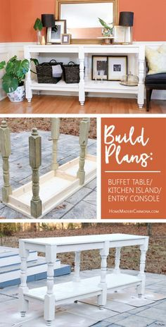 Learn how to make this DIY Rustic Buffet Table! Free build plans! | Home Made by Carmona