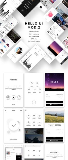 Heeeeey, Hello UI Kit Mod. 2! This mobile UI Kit kit includes more than 160�