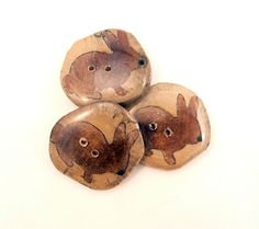 """3 Rustic Birch Wooden Painted Rabbit Buttons.  Hand Cut Branch Birch Buttons. Approximately 1""""  or 25 mm round. by TimesNotForgotten on Etsy"""