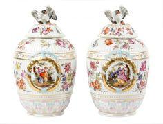 Pair of Large KPM Porcelain Jars w/ Bird Finials : Lot 764. Hammer Price: $800