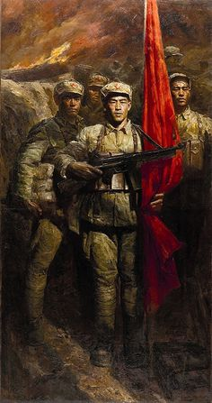 1971 RED FLAG-I, Chen Yifei (陈逸飞; Ningbo was a famous Chinese classic-style painter, art director and film director. Chinese Propaganda Posters, Propaganda Art, Military Art, Military History, Mao Zedong, Civil War Art, Flag Art, Red Flag, Historical Art