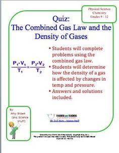 Gas Law Quiz: Combined Gas Law Densities of Gases
