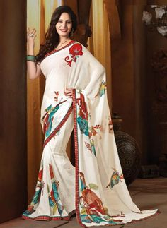 White and Red Color Chiffon Floral Print Sarees : Avika Collection YF-23430