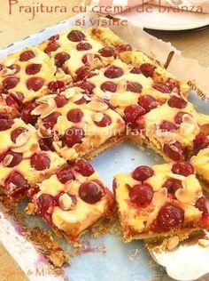Cherry cake and cream cheese ~ Culorile din farfurie Romanian Desserts, Romanian Food, Romanian Recipes, I Love Food, Good Food, Yummy Food, Cake With Cream Cheese, Eat Dessert First, Pinterest Recipes