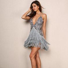 726caa2d3b Mesmerise Grey Fringed Sequin Mini Dress - Fashion Genie Boutique