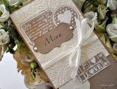 Idée de menu à réaliser soi-même. Thème nature ou vintage Anniversary Scrapbook, Wedding Anniversary Cards, Anniversary Ideas, Theme Nature, Deco Table Noel, Rosalie, Vintage Wedding Theme, Gifts For Cooks, Scrapbooking