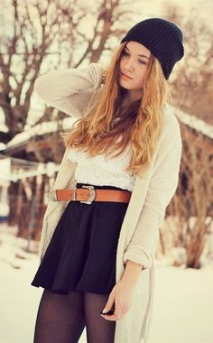 Girly Winter Layers. except that my legs would freeze off...